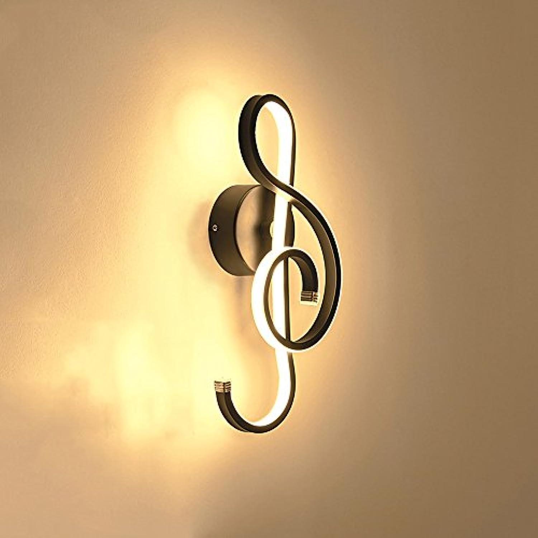 Pointhx Nordic Kreative Musiknote Wandleuchte Persnlichkeit Metall Wandleuchte LED Wandleuchte Lichter für Wohnzimmer Restaurant Korridor Gang Arbeitszimmer (schwarz wei) (Farbe   schwarz)