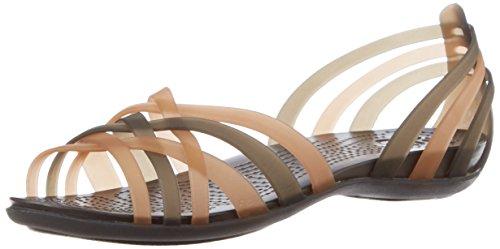 Crocs Huarache Flat Women, Damen Sandalen, Gold (Bronze/Espresso), 34/35 EU