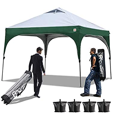 ABCCANOPY Pop Up Canopy Beach Canopy 10'x10'Better Air Circulation Canopy with Wheeled Backpack Carry Bag+4 x Sandbags, 4 x Ropes&4 x Stakes(Grey with Green)