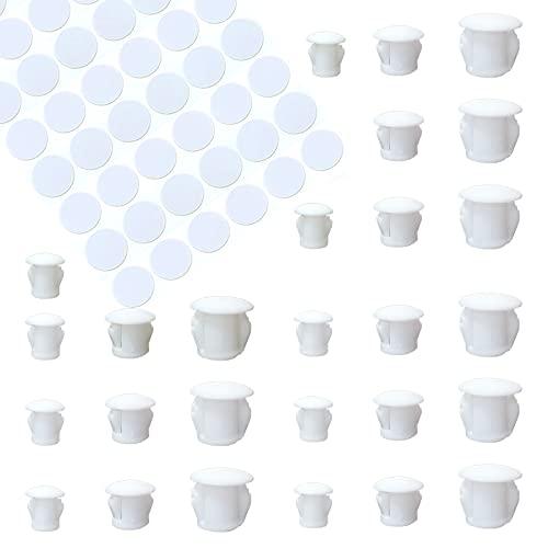 HJYZY 90 piezas 6 mm / 8 mm / 10 mm Tapón de Agujero de Plástico Tapones para Agujeros de Perforación 54 piezas Embellecedor Cubre-Tornillos Adhesivo Blanco