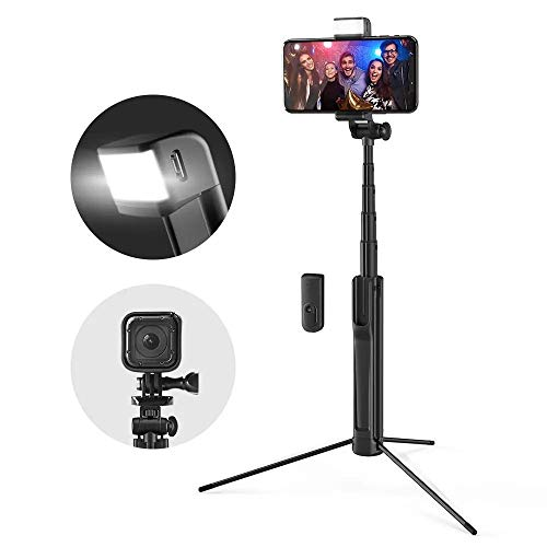 Kuingbhn Selfie Stick Stativ Ausziehbare Bluetooth Stativ Selfie-Stick mit LED-Fill-Licht for Telefon-Sport-Kamera für Smartphone (Color : Black, Size : 82cm)