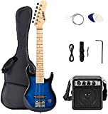 LAGRIMA 30 Inch Kid Electric Guitar Starter Kit with 5W Amp, Case and Accessories Pack Beginner Starter Package (30, Blue)