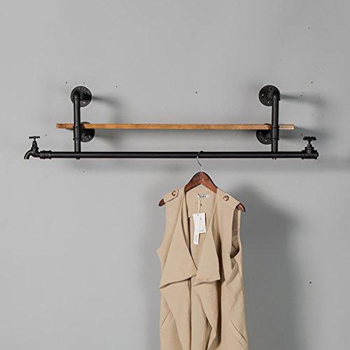 WWZWJ Zwevende plank Planken Amerikaanse land industriële retro muur gemonteerde kapstok creatieve houten hanger ijzer zwart display stand