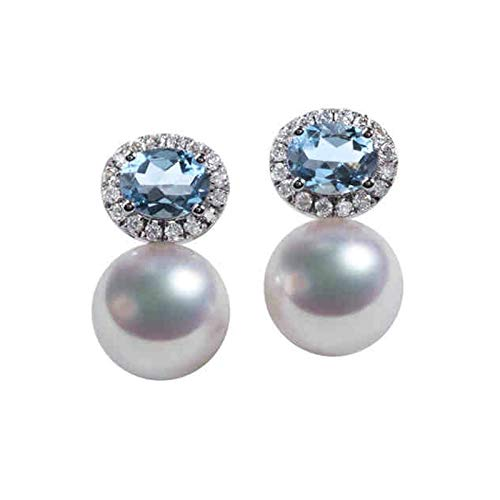 Daesar Pendientes de Mujer Plata Azul Claro Pendientes de Oro Blanco 18 Kilates Oval con Perla Diamante 0.17ct
