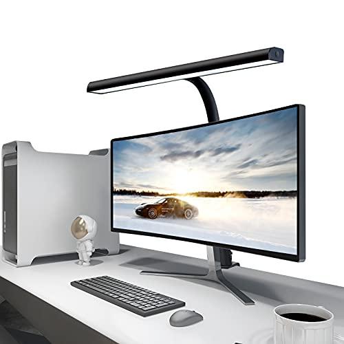 Lámpara de Escritorio LED Beigaon Luz de Lectura con Pinza USB de 10W, Cuello de Cisne, Temperatura de 3 Colores y 10 Niveles de Brillo Ajustables, Función de Memoria, Control Táctil Bilateral, Negro