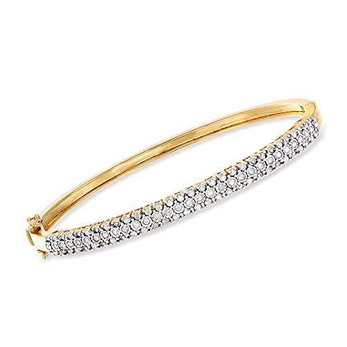 Ross-Simons 0.75 ct. t.w. Diamond Bangle Bracelet in 18kt Gold Over Sterling. 8 inches