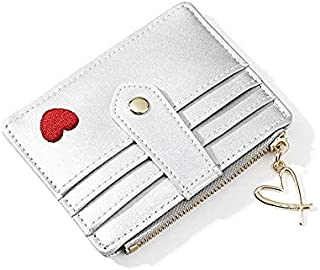 Heart-Shaped Embroidered Thread Purse, Ladies Multi-Card Card Holder Multi-Function Coin Purse Card Holder,Red
