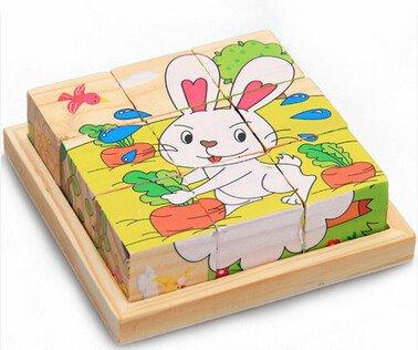 新品!動物ウサギ    9コマ  木製のおもちゃ パズル 誕生日のプレゼント  おもちゃ 知育玩具  幼児教育アプリシリーズ  知識を増すおもちゃ雑貨  木制品 zqzb0260-9