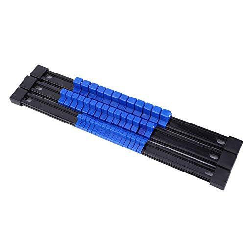 Omabeta Zócalo Rack Sockets Rail de almacenamiento 1/2 3/8 1/4 pulgadas organizador de montaje titular de zócalo rojo 3 piezas para garaje y taller (azul)