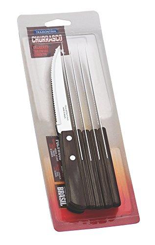 Juego de cuchillos Tramontina 6 unidades, color negro claro, acero inoxidable, marrón claro, 30 x 30 x 30 cm