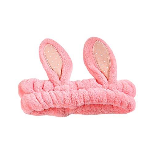 CAREMILLE Diadema de Color Caramelo para Mujer Orejas de Conejo 3D Diadema de Bordado de Lunares Leoaprd - 1#
