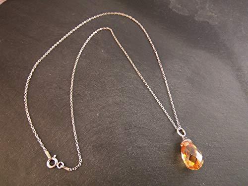 925 Silber Kette Halskette 45 cm mit Zirkonia Anhänger rhodiniert Topasfarben Bernsteinfarben