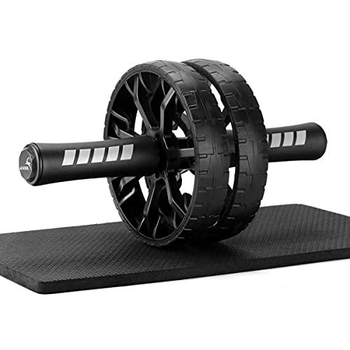 Hivool Ab Roller Wheel con Doble Rueda y Rodillera, Práctica Rueda para Abdominales para Fitness Muscular y Central, Hogar y Gimnasio Equipo de Entrenamiento Abdominal para Hombres y Mujeres
