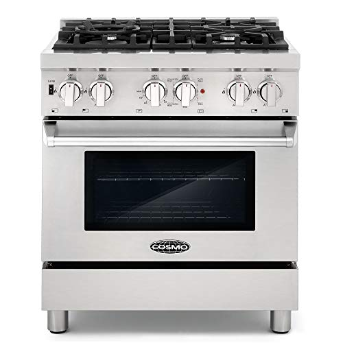 Cosmo DFR304 30 in Slide-In Free-standing Dual Fuel Range | Pro-Style 4 Sealed Burner Gas Rangetop ,...