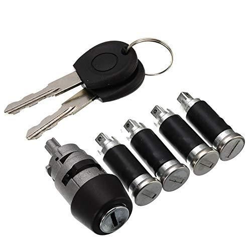 Juego de bombín de cerradura de puerta 7pcs / Set 1 del interruptor de encendido 4 cerradura de puerta de barril con 2 llaves / for VW T4 Caravelle 4 MK IV 1990-2003 Transporter Double Barn Hardware