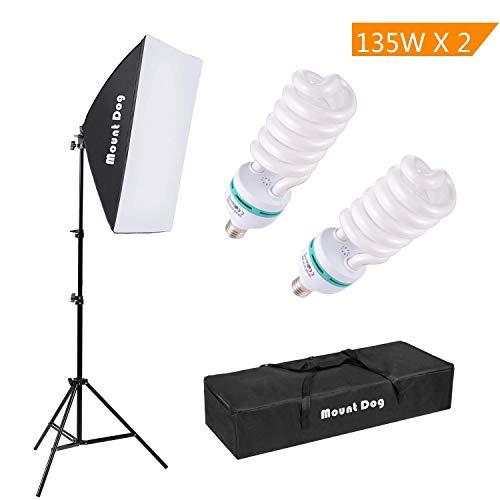 MOUNTDOG 1350W Kit de Softbox iluminacion Fotografia Continua con 20'×28...