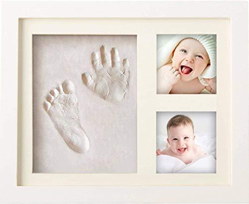 Cornice Impronte Neonato (3° Generazione) Impronta Mani e Piedi Neonati in Argilla Idee Regalo Mamma per Compleanno Battesimo Nascita Bimba Bimbo Bambini Portafoto da Tavolo e da Parete