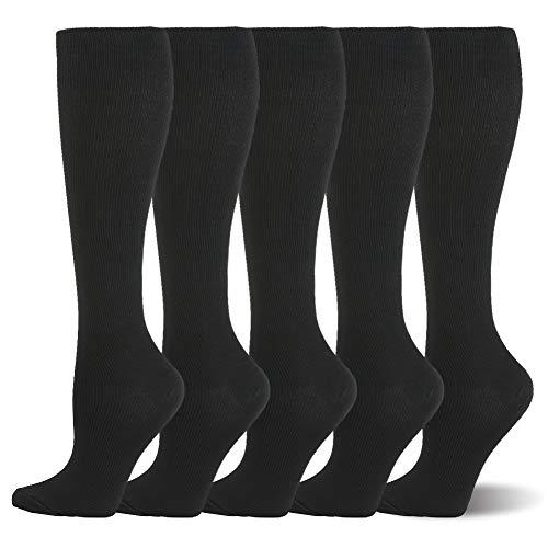 Campsnail Kompressionsstrümpfe Sneaker Socken Herren Damen Laufsocken Sprunggelenkschutz und Mittelfußstütze für Laufen Radfahren Erholung Blutzirkulation (L/XL, 5 Paar - Schwarz)