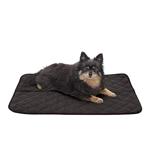 Furhaven Pet Dog Bed Heating Pad | ThermaNAP Quilted Plush Velvet Insulated Thermal Self-Warming Pet Bed Mat for Dogs & Cats, Espresso, Small