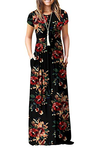 Euovmy Women's Short Sleeve Loose Plain Maxi Dresses Casual Long Dresses with Pockets Brown Floral Black XX-Large