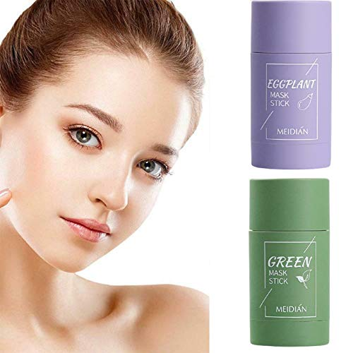 2PCS Green Tea/Eggplant Purifying Clay Stick Mask, Deep Cleansing Smearing Clay Mask, Face Moisturizes Oil Control, Deep Clean Pore, for All Skin Types Men Women(Green Tea Mask+Eggplant Mask)