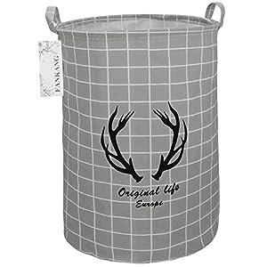 FANKANG Storage Basket, Nursery Hamper Canvas Laundry Basket Foldable with Waterproof PE Coating Large Storage Baskets for Kids Boys and Girls, Office, Bedroom, Clothes,Toys(Lattice deer)