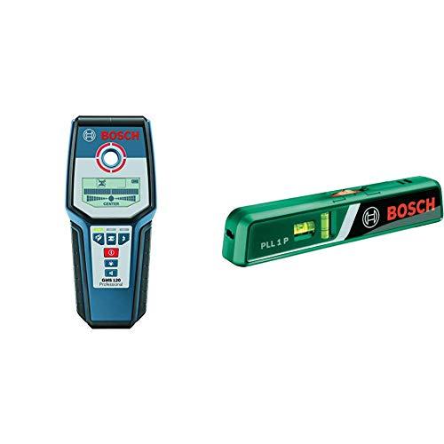 Bosch Professional Digitales Ortungsgerät GMS 120 (1x 9V Batterie) & Laser-Wasserwaage PLL 1 P (Arbeitsbereich Linienlaser 5 m, Arbeitsbereich Punktlaser 20 m, im Karton)