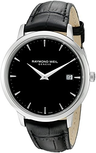 Raymond Weil Men's Toccata Stainless Steel Swiss-Quartz Watch with Leather Strap, Black, 18 (Model:...