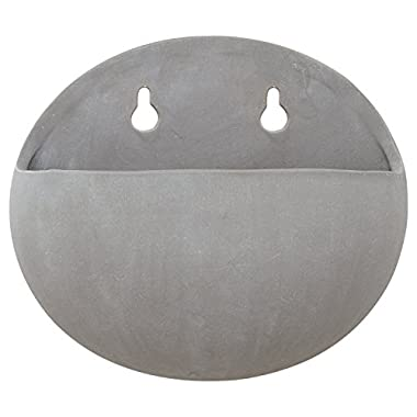 Rivet Modern Rounded Earthenware Wall Mount Planter, 6.25  H, Grey
