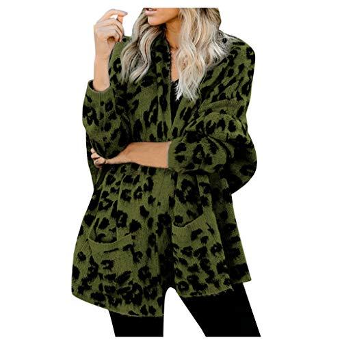 N/H - Chaqueta de manga larga con bolsillos para mujer, diseño de leopardo