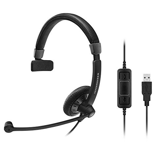 Sennheiser SC 40 USB CTRL (506500) - Single-Sided Business Headset | For Unified Communications | with HD Sound, Noise-Cancelling Microphone, & USB Connector (Black)