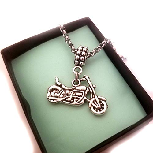 Motorcycle Biker Charm with on Bracelet Necklace Keychain, Motorcycle Jewelry Gifts for Men Women
