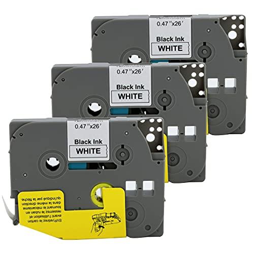 Bubprint kompatibles Schriftband als Ersatz für Brother TZE-231 TZE231 TZ231 12mm für H100lb H100r H101 H101c H105 PT-1010 Ptouch pt d400vp (Schwarz auf Weiß 3er Pack)