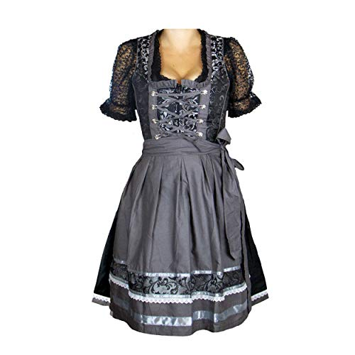 MS-klederdracht dames Dirndl klederdrachtjurk feestjurk Helene Jaquard zwart zilver