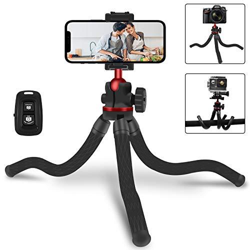 Umitive Trípode Flexible, Trípode Teléfonos Móvil Portátil Mini con Bluetooth Control, Rotación de 360°, Trípode Cámara Viaje para iPhone, Samsung, GoPro, Mayoría de Teléfonos Móviles y Cámaras