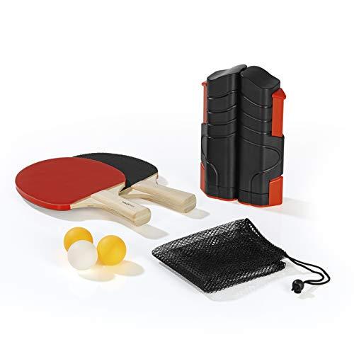 MAXXMEE Tischtennis-Set | Netz mit Klemmen, 2 Tischtennisschläger und 2 Tischtennisbälle | maximale Plattenbreite 1,95m | Indoor & Outdoor einsetzbar