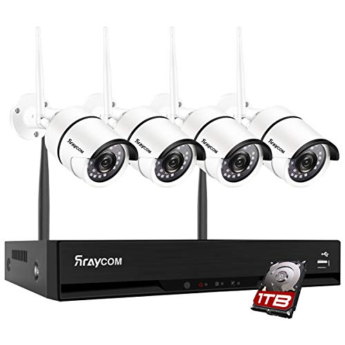 Rraycom 8CH 1080P Security Camera System Wireless,4pcs 1.0MP Home Waterproof Wireless Outdoor Security Cameras, H.265 NVR Surveillance Camera System with 115FT Night Vision Remote View 1TB Hard Drive