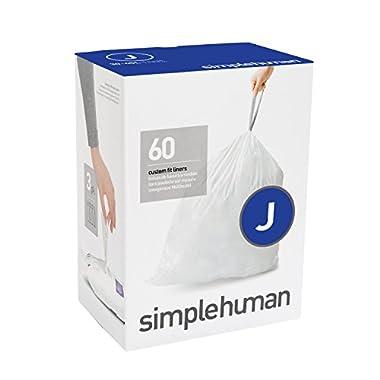 simplehuman Code J Custom Fit Liners, Tall Kitchen Drawstring Trash Bags, 30-45 Liter / 8-12 Gallon, 3 Refill Packs (60 Count)
