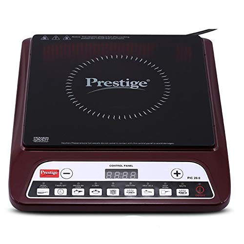 Prestige PIC 20 1200 Watt Induction Cooktop with Push Button, Maroon