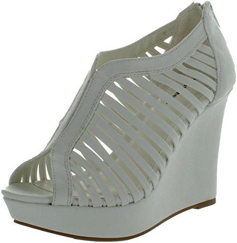 TOP Moda Denver-1 Sandalias de tacón de cuña para mujer, blanco (Blanco), 39 EU