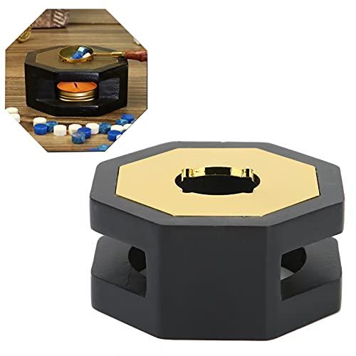 Wosune Estufa de fusión de Cera, Calentador de Sello de Cera de Material Premium fácil de Llevar para Bodas para el Trabajo para la Familia para los colegas(Eight Sided Furnace (Black))