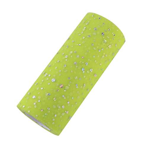 Supvox Tulle Ruban Rouleau Paillettes Scintillant Paillettes Décoration de Mariage Organza Laser 15cm 25 yards (C30 Fruit Vert)