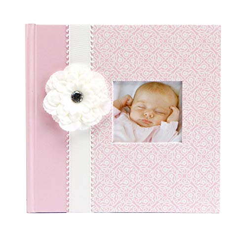 C.R. Gibson Pink Photo Album Baby Book for Girls, 10.4 x 9.7 x 1.9 inches, 80 Pages
