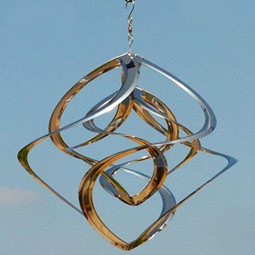Pommerntraum ® | Edelstahlwindspiel 40 cm XL | Windspiel Edelstahl | Winddancer | Double-Twister | Gartenstecker | Garten Kunst | ROSTFREI