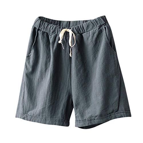 FRAUIT Pantaloni Donna Estivi Corti Eleganti Bermuda Ragazza Lino Pantalone Largo Corto Shorts Sexy Pantaloncini Eleganti Larghi Pantaloni Elasticizzati Strech con Tasche Pantaloncino