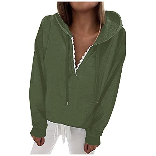 Briskorry Felpa da donna, sexy, con scollo a V, elegante, tinta unita, con cappuccio, stile basic, verde, S