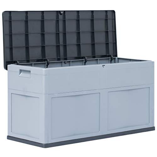 mewmewcat wasserdichte Garten Aufbewahrungsbox 320 L Gartenbox Auflagenbox für Garten Terrasse aus Kunststoff 119 x 46 x 60 cm Grau und Schwarz