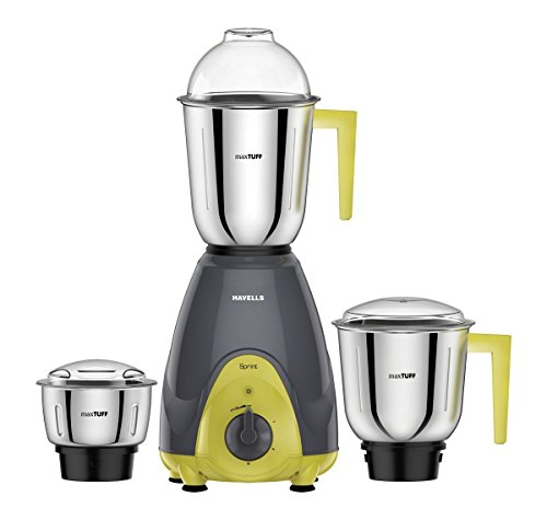 Havells Sprint Mixer Grinder, 500W, 3 Jars (Grey/ Green)