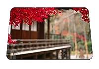 22cmx18cm マウスパッド (紅葉の赤い前景の中庭) パターンカスタムの マウスパッド