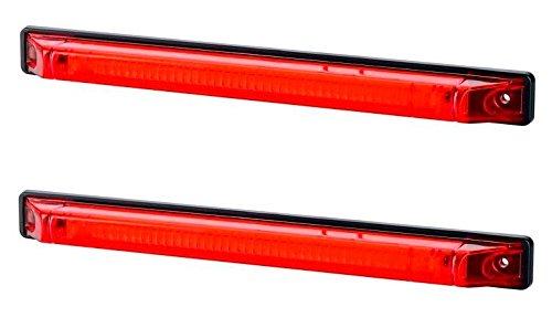 2 x arrière 250 mm tracé Rouge Marqueur LED Panneau latéral Lampe Indicateur 12 V 24 V Noir Châssis Camion Remorque Caravane LKW